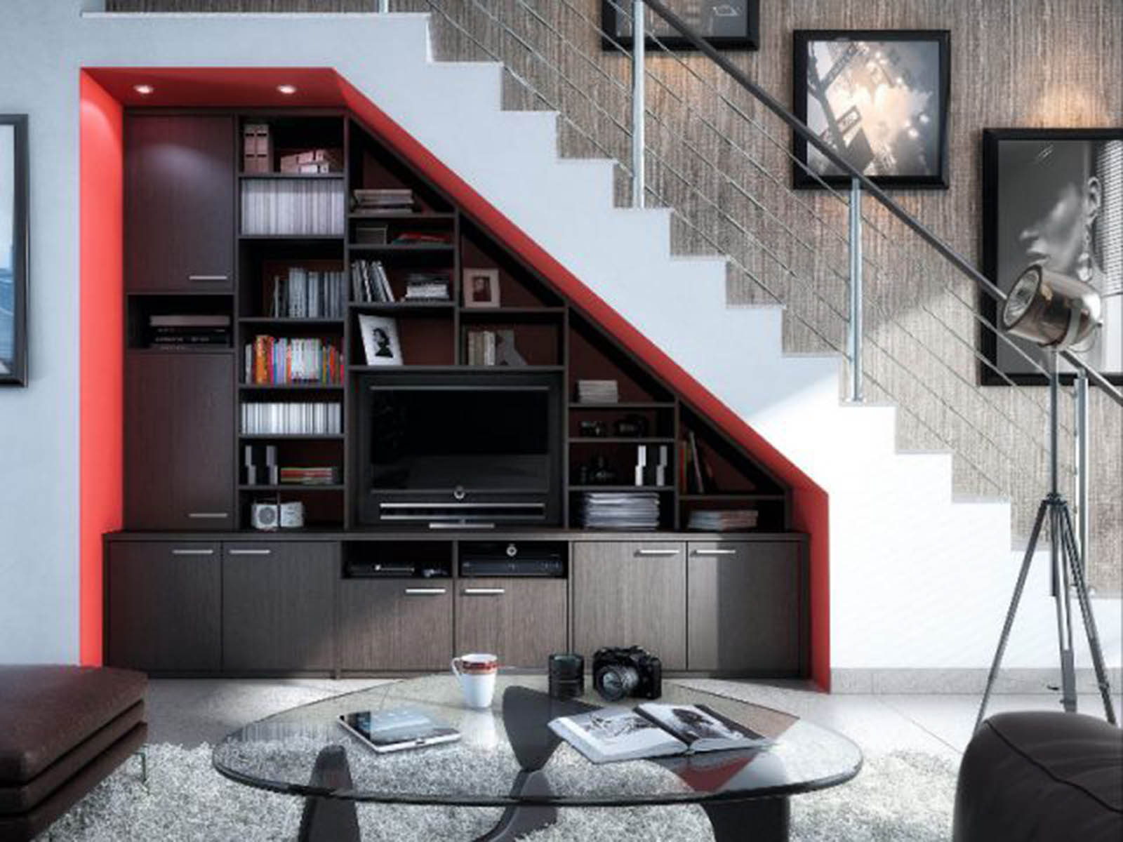 Am Nager L Espace Sous Un Escalier Viving # Meubles Bas Bibliotheque Salon