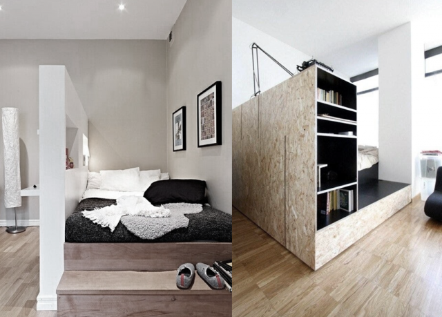 cr er un coin nuit dans un studio viving. Black Bedroom Furniture Sets. Home Design Ideas